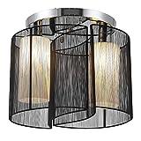 HOMCOM Deckenlampe Vintage Deckenleuchte 2 flammig Deckenlicht Lampe 2 x E27-Fassung Schwarz Ø47,5 x 33H cm (Ohne Glühbirnen)