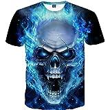 Celucke Herren T-Shirt mit Totenkopf Print, 3D Druck Sport Kurzarm Casual Top Rundhals Shirts Männer