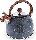 OMAORST Flötenkessel Wasserkessel, 2,5 L Herdplatte Teekessel, fürTeekessel für alle Kochplatten, Flötenkessel mit Holzgriff, Tragbar Camping Teekanne Kessel Für Tee Coffee Saft (grau)