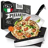 Pizza Divertimento [DAS ORIGINAL] - Pizzastein für Backofen und Gasgrill [3er Set] - Mit Pizzaschieber & Pizzaschneider - Cordierit Pizza Stein - Pizza Stone knuspriger Boden