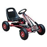 HOMCOM Go Kart Kinderfahrzeug Tretauto mit Pedal Bremsen Kinderspielzeug für 3-8 Jahre Gummiräder Stahl Rot+Schwarz 101 x 61 x 62 cm