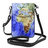 Kleine Crossbody Handy Geldbörse mit Kreditkartenfächern, leicht, geräumig, verstellbarer Schultergurt, Weltkarte, Ozean, Meer, Blau, Crossbody Taschen für Frauen