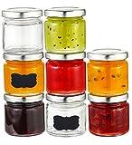 Praknu 25 Marmeladengläser 125 ml mit Deckel, Etiketten - Luftdichte Einmachgläser zum Einkochen &