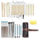 Modellier-Werkzeug Sculpting Werkzeug, GuKKK 35 Stücke Polymer Clay Werkzeuge, Komplett Pottery Werkzeug-Set, Ball Stylus Dotting Tools, für Kunsthandwerk, Skulptur, Anfänger (36)