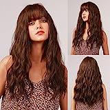 HAIRCUBE Frisur Lange braune wellenförmige Perücken für Frauen, natürliche Haare synthetische krümmige Perücken mit ordentlichem Pony Full Perücken Daily und Party-Gebrauch