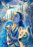 5D Diamant DIY Painting Bilder groß Diamant malerei Kits Vollbohrer Wolf Mood und Frau Kristallmalerei mit Diamanten Kunst Handwerk Set für Entspannung und Home Wall Decor Geschenk 11,8 x 15,7'