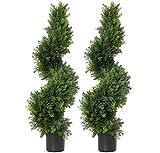 Künstliche Zypressen-Bäume, 91,4 cm, Formschnittbäume, künstliche Pflanzen, grüne Spiral-Zypresse, künstliche Pflanze, Wirbel-Formschnitt-Dekoration, für drinnen und draußen, 89,1 cm, 2 Stück