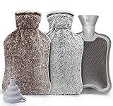 ilauke Wärmflasche mit Bezug 2L Wärmeflaschen mit 2 Stück Wärmflasche Vliesmäntel, Wärmflasche Kinder Sicher und Langlebig Geprüft Und Frei Von Schadstoffen für Bauch Rücken und Nacken, Grau+B