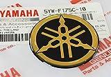 Ganz Neue 45mm Durchmesser Yamaha Stimmgabel Aufkleber Emblem Logo Schwarz Gold Erhöht Gewölbt Gel Harz Selbstklebend Motorrad Jet Ski /Atv / Schneemobil