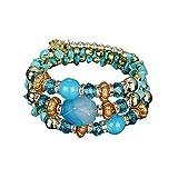 UINGKID-Serie Armband Kreative Stilvolle Charm Charming Armreif Schmuck Zubehör für Frauen Mädchen 5PC BD Exotic National Flavor Meltilayer Colored Stone Bracelet