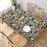 Dekorative Tischdecke Tischdecke Tischwäsche Tischdecke Stallyhoun Floral Hund Blumen Hunde Stabij Grün Tischdecke für Küche Esszimmer Tischplatte
