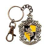 Hufflepuff Wappen Schlüsselanhänger aus Harry Potter handbemalt Gesamtlänge 15,5cm gelb-schwarz Metall