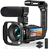 Videokamera 2.7K Camcorder Verbessertes WLAN und IR Nachtsicht, 2021 Full HD Anti-Shake Vlogging Kamera für YouTube, 3.0' Touchscreen, Mikrofon, Gegenlichtblende, Handstabilisator, Fernbedienung