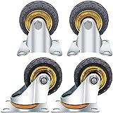 Yaseking. 4 x Hochleistungs-Doppeltrag-Gummi-Swivel-Rollenrad-Trolley-Möbel mit 3-Zoll-Rollen