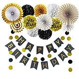 Geburtstagsdekorationen, Schwarz-Gold-Partydekorationen für Männer mit zusammengebauten Happy Birthday-Bannern, die Papierfächer hängen Seidenpapierblumen und Girlandenschnur-Tupfen