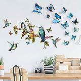 Kolibri Wandtattoos mit 12 PCS 3D bunte Schmetterling Wandaufkleber für zu Hause Schlafzimmer, abnehmbare Aquarell Vögel Schmetterlinge Wandkunst Wanddekoration für Wohnzimmer Büro (Bird&Butterfly)