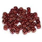 Sharplace 50 Stück Plastik 6 Seitige Spot Würfel für Party Bar Brettspiel Requisiten DIY - Dunkelrot