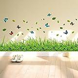 ufengke® Grünes Gras Blumen Schmetterlinge Wandsticker, Wohnzimmer Schlafzimmer Baseboard Entfernbare Wandtattoos Wandb