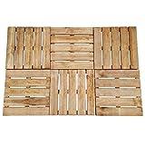 vidaXL 6x Holz Terrassenfliesen Braun 50x50cm Klickfliesen Holzfliesen F