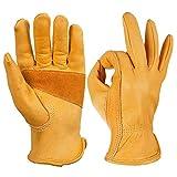 OZERO Arbeitshandschuhe,Lederhandschuhe zum Arbeiten, Gartenarbeit