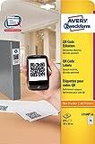 Avery Zweckform L7120-25 selbstklebende QR Code Etiketten (A4, blickdicht, zum Bedrucken, 35x35 mm, 875 QR-Code Aufkleber auf 25 Blatt, quadratische Klebeetiketten, für alle A4-Drucker) weiß