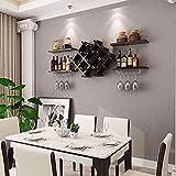 FBJJ Wine Rack, Wand-Weinregal Wandregal Holz Rhombic Weingarten Restaurant Hung Haushalt Weinreg