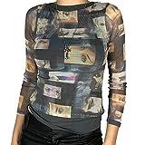 L&ieserram Womens Y2K Face Portrait Mesh Sheer Tops Abstrakte Augen Grafik Print Langarm Shirt Blusen Sommer Tops Ästhetische Teen 90er E-Girls Streetwear (AA Black, Medium)