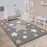 Paco Home Teppich Kinderzimmer Kinderteppich Große Und Kleine Sterne In Grau Rosa, Grösse:160x220
