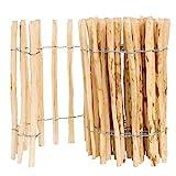 BOGATECO Staketenzaun Haselnuss Kastanie | Holz-Zaun 70 cm Hoch & 500 cm Lang | Lattennabstand 4-5 cm | Perfekt als Gartenzaun