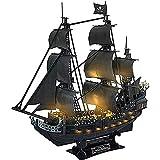 ZOULME 3D dreidimensionales Puzzle, Piratenschiff Modell Schiff und Boot Kit Schiffsset, mit leichtem, zusammengebautem pädagogischem Puzzlespielspielzeug für Kinder