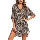 AFFGEQA Damen Strandkleid Beach Kleid V-Ausschnitt Kurzarm Blumenkleid Shirtkleid Badeanzug Badebekleidung Sommerkleid Sonnenschutz Blusekleid