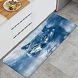 ALLMILL Küchenteppich,Wolfstier Wildlife Wolf auf der Suche nach Beute im verschneiten Wald,dekorative Küchenbodenmatte mit Rutschfester Rückseite