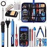 Lötkolben Set 24PCS, WOWGO 60W Schweißwerkzeuge Elektrisches Lötset mit 5 austauschbaren Spitzen, einstellbarer Temperatur, Digitalmultimeter, Lötkolbenständer, Entlötpumpe, tragbarer Werkzeug