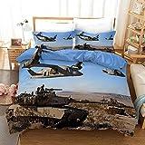 Bettwäsche 200x200cm Angenehme Mikrofaser Bettbezug Set Militär begeisterter,Schlachtfeldflugzeuge Landschaft Bettbezüge mit Reißverschluss für Kinder Erwachsene 2 Kissenbezug 80x80cm
