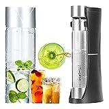DSMGLRBGZ Wassersprudler Lebensmittelqualität Soda Stream Kein Strom Nötig Automatische Druckentlastung für Fruchtsaft Cocktail Mix Shaker Bar Zubehör,Schwarz