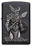 Zippo Odin bewaffnet, Satin Chrome – Benzin Sturm-Feuerzeug, nachfüllbar, in hochwertiger Geschenkbox, Black Matte, Normal, 60005587