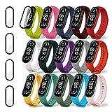 Mi Band 6 / Mi Band 5 Strap [15 Farben] Ersatzarmband mit 4 Displayschutzfolien