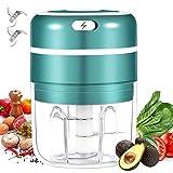 Elektrisch Zerkleinerer Küche, 350ML Mini Knoblauchhacker Gemüsezerkleinerer Elektrisch Zwiebelschneider mit 3 Scharfen Klingen für Knoblauch Gemüse Obst Fleisch Multizerkleinerer
