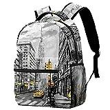 Lorvies Street View of New York American City Rucksack, Schulterrucksack, Büchertasche für Schule, Studenten, Reisetaschen