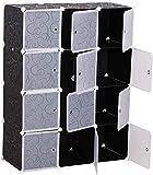 Kleiderschrank, Garderobenschrank Kunststoff Steckregal DIY Modular Schrank Regalsystem (12-kubus)