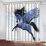 MENGBB Blickdicht Vorhang Kinderzimmer Mikrofaser 240x230cm Engel Tierpferd Ösen 95% Blickdicht Gardinen Mädchen Junge Schlafzimmer Wohnzimmer dekorativ