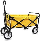 FMOGE Trolley Multifunktions Tragbare Handwagen, Zusammenklappbarer Klappwagen Utility Wagon Cart Outdoor Garten Campingwagen Sportwagen Heavy Duty, Gelb