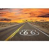 GREAT ART® XXL Poster – Route 66 – Wandbild Dekoration Amerika Highway Chicago Kalifornien Reisen Urlaub Sonnenuntergang Wüste USA Deko Wandposter Fotoposter Wanddeko Bild (140 x 100 cm)