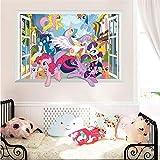 Cartoon My Little Pony Wandaufkleber für Kinderzimmer 3d Fenster Kinderzimmer Wandtattoos Raumdekor Geburtstagsgeschenk Dekor-C