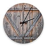 10 'Runde Wanduhr, Holzgarage Holzmaserung Tür Rustikales Bauernhaus Silent Nicht Ticking Quarz Batteriebetriebene Wand Dekorative Uhr für Wohnzimmer Schlafzimmer