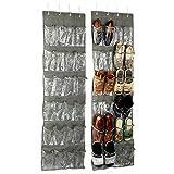 Okuna Outpost Schuh-Organizer für die Tür, 24 Aufbewahrungstaschen, Grau, 45,7 x 160,8 cm, 2 Stück