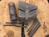 Odin Brown + Werkzeugrolle kompatibel mit Schwingentasche Lenkerrolle Seitentasche Echtleder Leder Tasche Schwinge Satteltasche Harley Davidson HD Starrahmen Rahmentasche