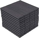 WYZXR WPC-Verbund-Terrassendielen, ineinandergreifende Holzfliesen Bodendielen, 11-30 x 30 cm Set, Anthrazit