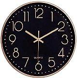 Foxtop Schwarz Wanduhr Leise, Nicht tickende arabische Ziffernuhr Runde dekorative Uhr für Wohnzimmer, Schlafzimmer, Küche, Büro (25 cm)