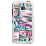 DeinDesign Silikon Hülle kompatibel mit Nokia Lumia 630 Dual SIM Case weiß Handyhülle Streifen Wasserfarbe Art
